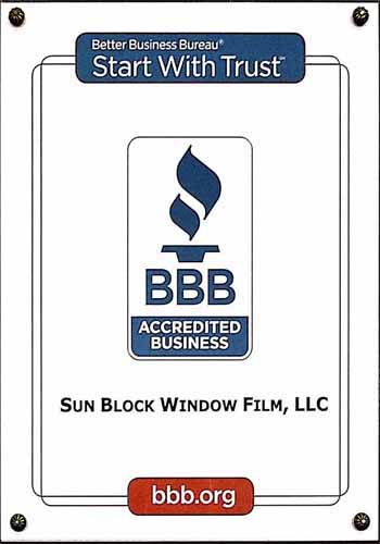 BBB accredited commercial window tint